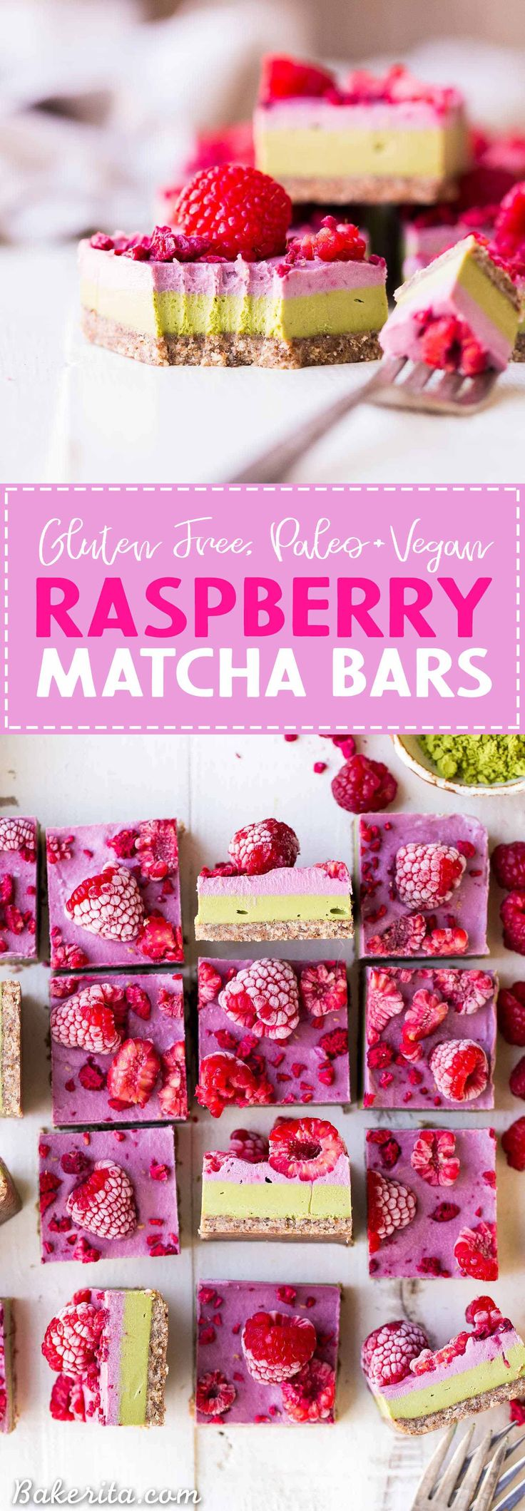 These Raspberry Matcha Bars are incredibly creamy and flavorful! The earthy green tea matcha pairs wonderfully with the tart raspberry flavor, and they certainly taste as good as they look. You're going to adore these gluten-free, paleo, and vegan raspberry matcha bars.