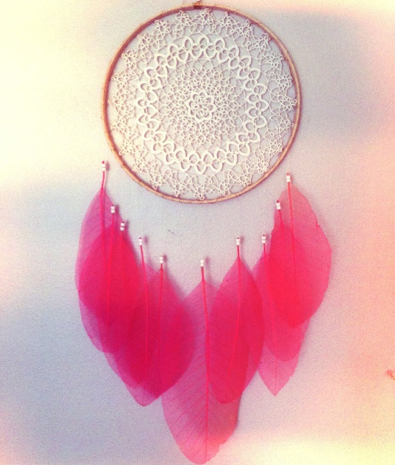 Sheer Pink Leaf DREAMCATCHER with Irish Lace & by CosmicAmerican, $120.00