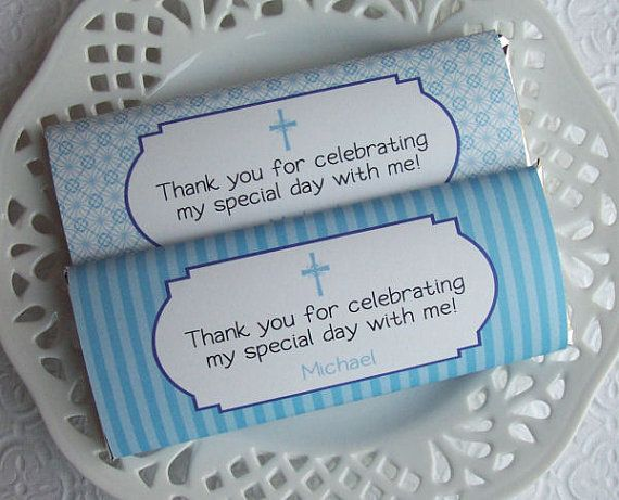Printable Personalized First Communion or Baptism Boy Large Candy Bar Wrappers on Etsy, $4.00