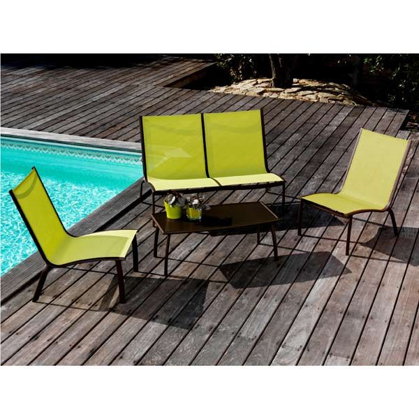 Salon de jardin Alu 4 places Rouille Lime LOUNGE LINEA - Maison ...