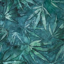 TEAL Marijuana Leaves Weed Cannabis Pot 100% cotton fabric by pmscrafts on Etsy