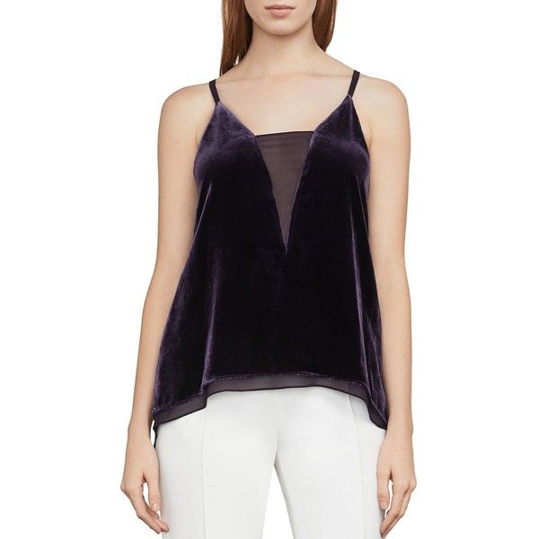 Bcbgmaxazria Lyssa Velvet High/Low Tank featuring polyvore women's fashion clothing tops plum sheer tank top velvet tank low tank top see through tank tops velvet top