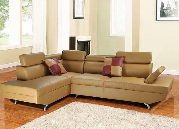f2803a 2 pc elena khaki faux leather sectional sofa with