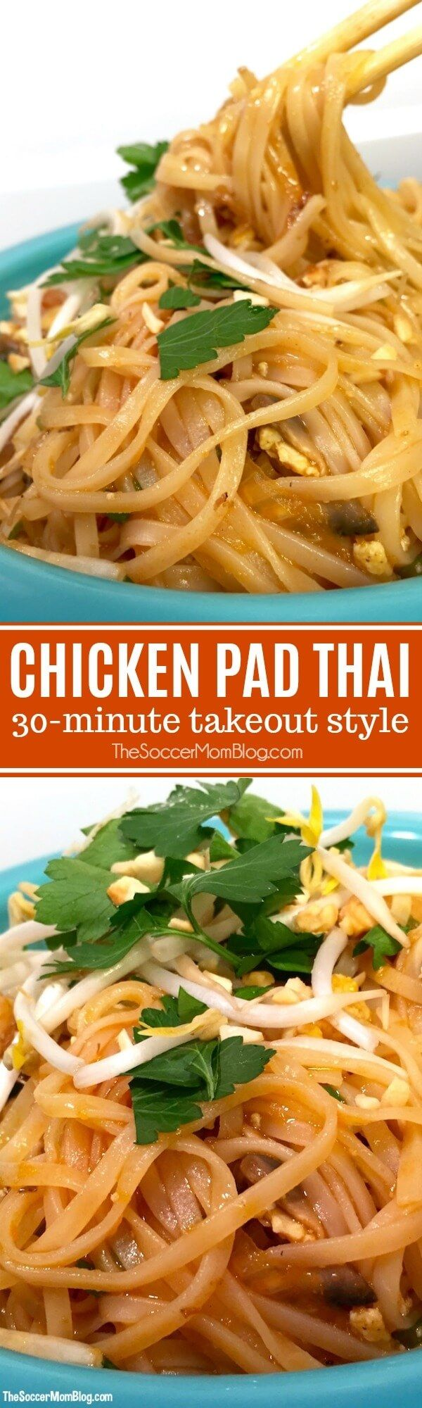 Tastes just like takeout — and ready at home in 30 minutes! This easy Chicken Pad Thai recipe is our go-to dinner when we're craving our favorite restaurant noodles. #ThaiFood #noodles