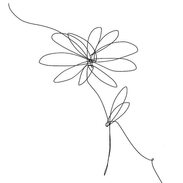 One Line Daisy Drawing, Red Bubble – #Anker #Blumen #Bubble #Daisy #Datum #dra