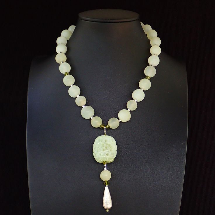Pendant necklace with semi precious jade, sterling silver drop & Swarovski crystals. Statement, gemstone, handmade, light green colour, OOAK by Menir on Etsy