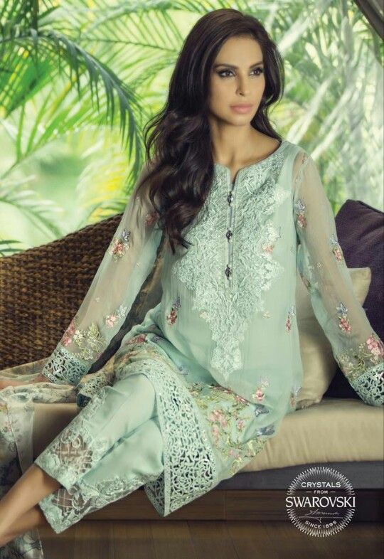 Maria B | baby blue kameez / shirt with trouser n delicate embroidery | perfect for eid