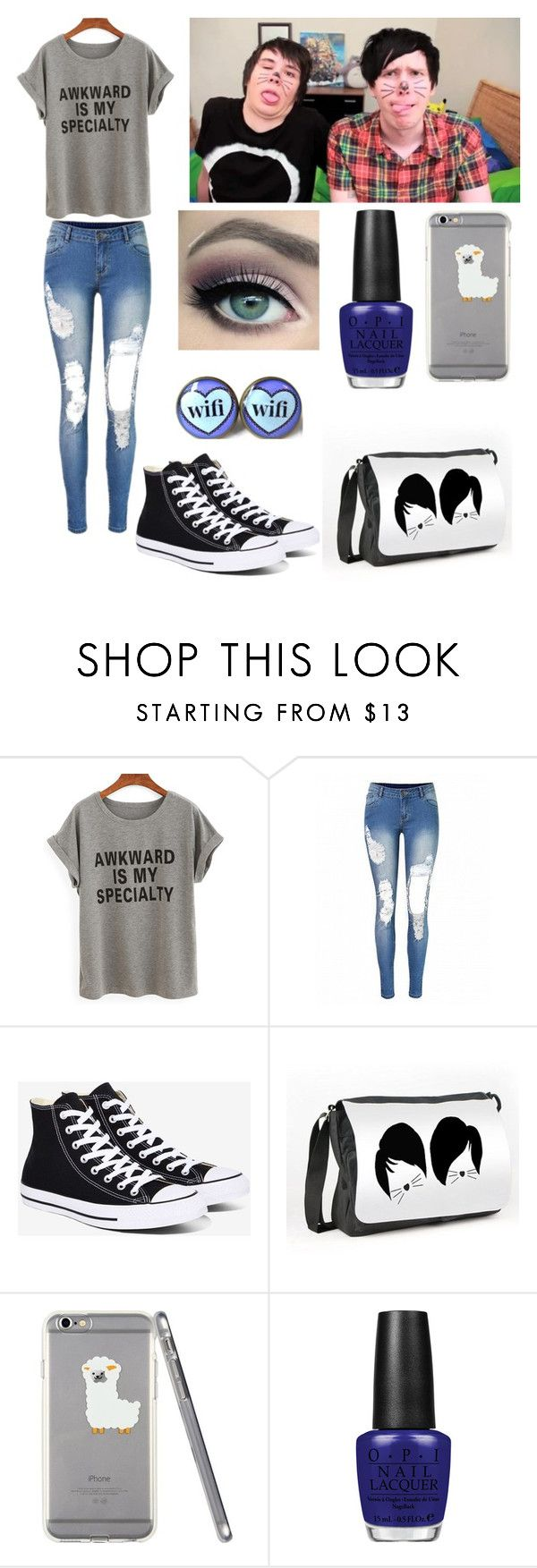 """""""Making a video with Dan and Phil"""" by amylovesptx ❤ liked on Polyvore featuring Converse and OPI"""