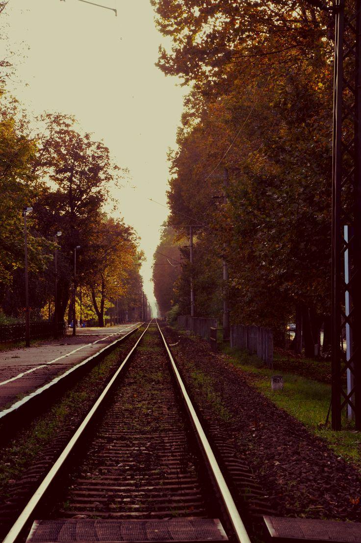 Balatonföldvári vonatút a végtelenben az őszi nap merengő fénysugarán. Balatonföldvár. Hungary. Train. Autumn.