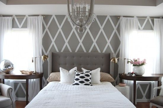 Came to this post for the DIY duct tape diamond wall, stayed for the amazing headboard, lovely light fixture, two gorgeous table lamps, fluffy pillow and cowhide rug (not pictured here), and NIGHTSTAND DISCO BALL