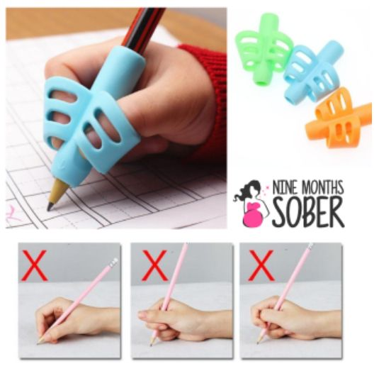 Two-Finger Pen Holder Silicone Baby Learning Writing Tool Correction Device Pencil Set