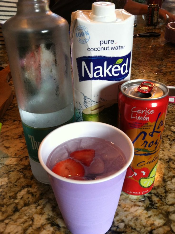 coconut water + cherry lime la croix + coconut rum (from http://healthfulhappenings.blogspot.com)