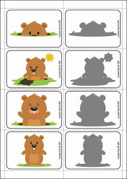 Groundhog Day Preschool Centers. Match each groundhog to its shadow.