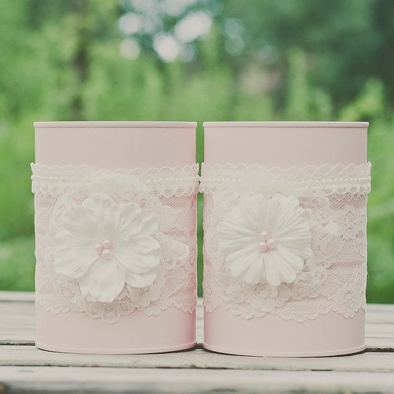 Painted lace tin can vases. Wedding by StyleJarsandCans on Etsy
