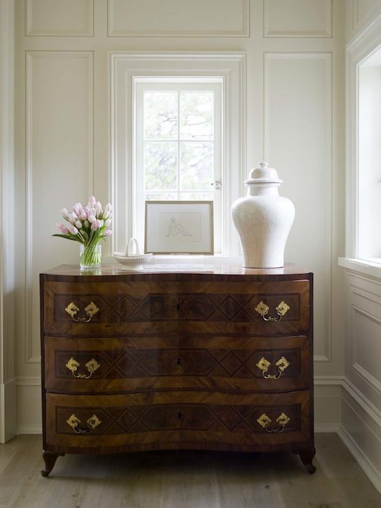 Suzie: Phoebe Howard - Sophisticated vignette with antique chest, white crackled ginger jar and ...