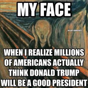 A collection of funny memes and viral images skewering Republican presidential nominee Donald Trump.: My Face When I Realize