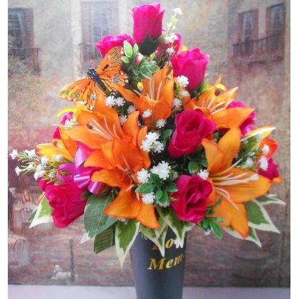 187 best flowers images on pinterest funeral flowers cemetery artificial silk flower arrangement posy in grave spike lovely tribute mightylinksfo