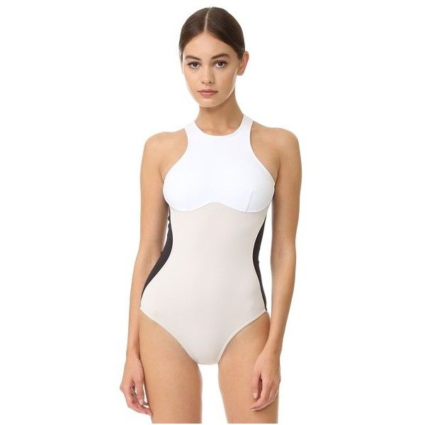 Stella McCartney Miracle One Piece (€340) ❤ liked on Polyvore featuring swimwear, one-piece swimsuits, colorblock one piece bathing suit, 1 piece bathing suits, one piece bathing suits, one-piece swimwear and open back swimsuit
