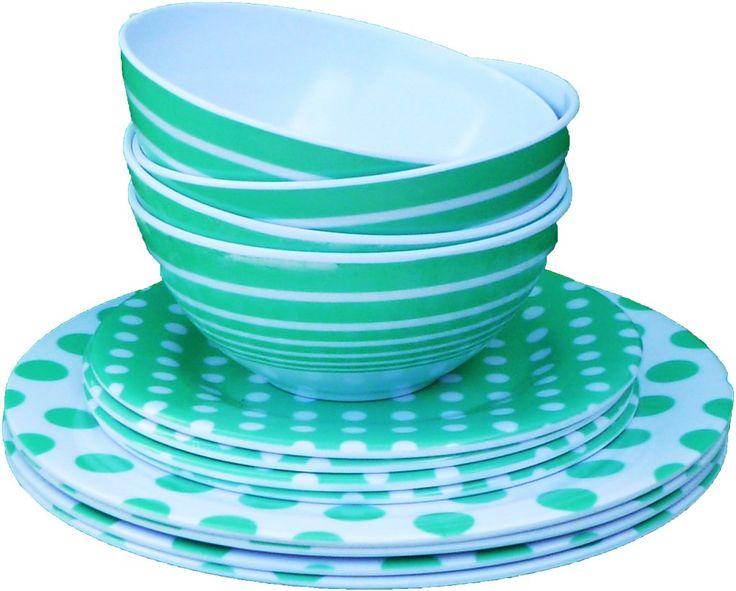 Wholesale 3 Piece Melamine Dinnerware Set - Green (Case of 72)