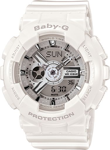 """BA110-7A3 Casio Baby-G is growing up with a new collection of timepieces inspired by its analog and digitally-dynamite """"big brother,"""" the XL GA110 G-Shock."""