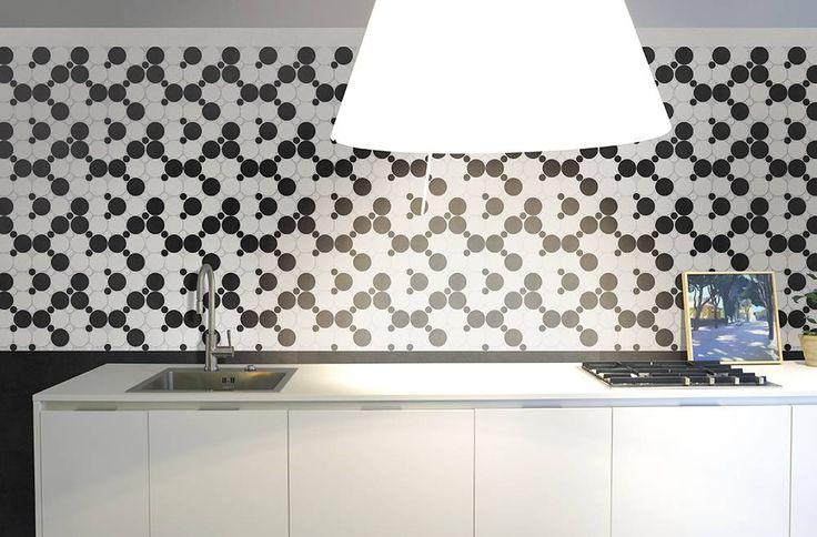#Cucina con pavimenti e rivestimenti in #gresporcellanato