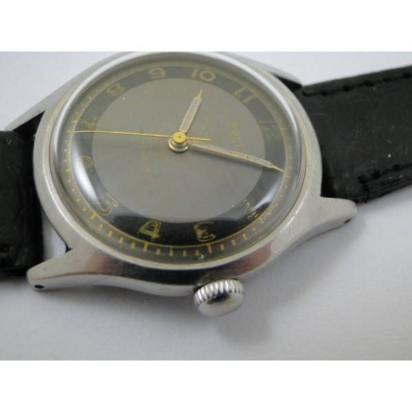 rare all steel two tone dial swiss made ebel mens dress watch running fine circa 1950 art deco style by Bohemianwatchsource on Etsy
