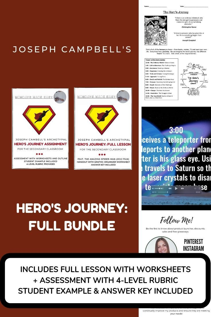 Included In This Bundle 1 Joseph Campbell S Hero S Journey Full Lesson Feat The Amazing Spider Man 2 Engaging Lesson Plans Engaging Lessons Hero S Journey