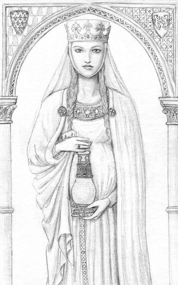 Nice portrait of Eleanor of Aquitaine, holding her rock crystal vase. It was given to her by her grandfather, William IX of Aquitaine, and she later gave it to Louis VII as a wedding present. It still survives, and is on display in the Louvre museum. Eleanor of Aquitaine by *dashinvaine on deviantART