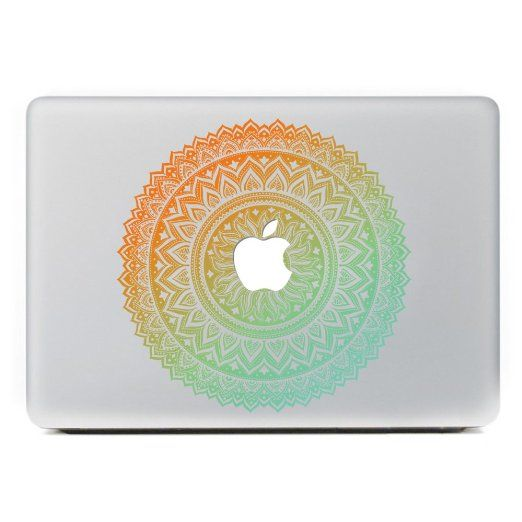 "Amazon.com: iCasso Mandala Removable Vinyl Decal Sticker Skin for Apple Macbook Pro Air Mac 13"" inch / Unibody 13 Inch Laptop (Yellow Red): Computers & Accessories"