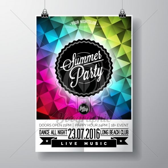 Vector Summer Beach Party Flyer Design with typographic elements and copy space on color triangle background. - Royalty Free Vector Illustration