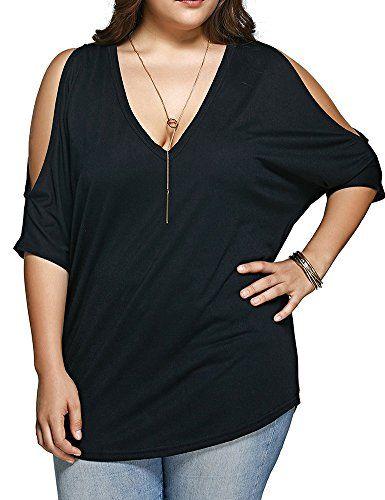 LOOK!! Allegrace Women Plus Size V Neck Short Sleeve Batwing Top Cold Shoulder T Shirt