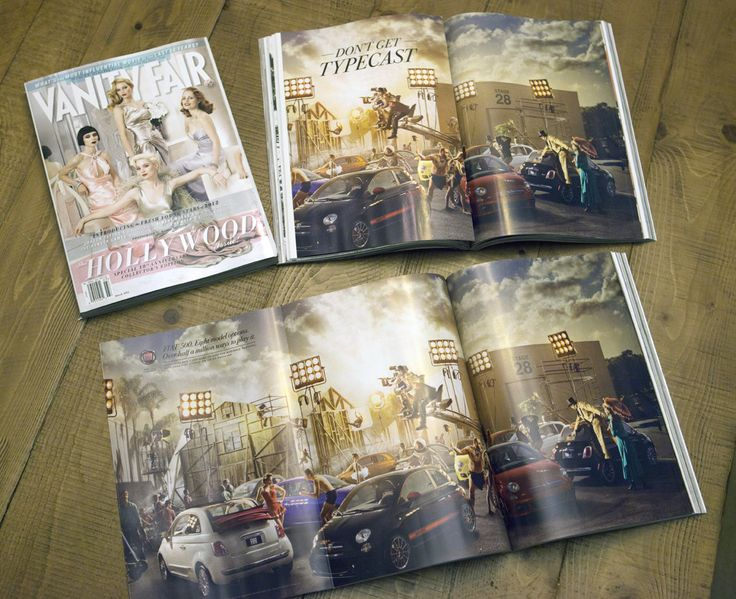 The Vanity Fair Hollywood issue is finally out!  The center spread is my 3 page Fiat ad.  We had only 9 days, from the time we got the job to the time the final composite was due.  With a lot of help and many sleepless nights, here it is!