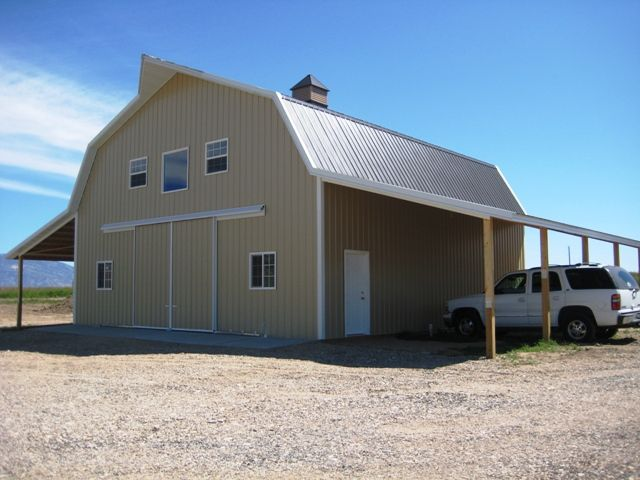 Barns with living quarters framing up two story shop for Barn plans with living quarters