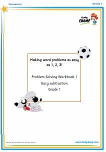 Worksheets - Grade 2 - Numeracy : Gr1/2 Understanding Subtraction Word Problems