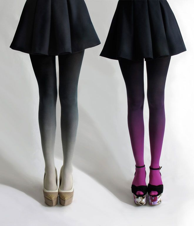 ombré tights can dress up a simple skirt!