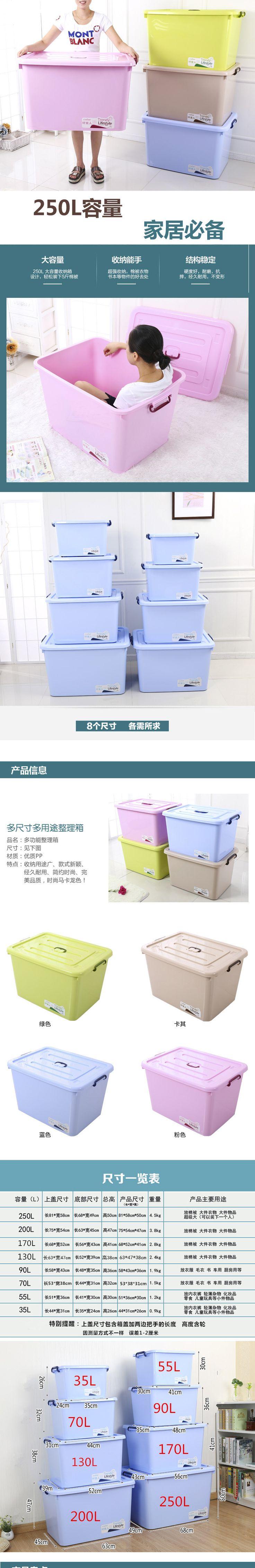 250Л Размер Кинг экстра толстый пластиковый ящик для хранения одеяло одежда для хранения игрушек коробка для хранения автомобилей отделка коробки колеса-Таобао