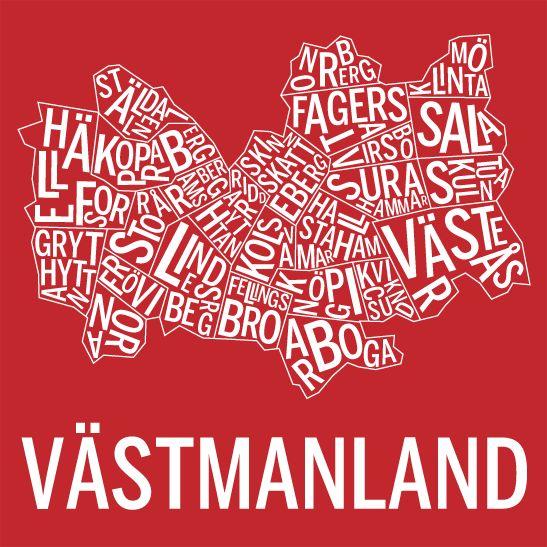 Västmanland. Sverige. Karta. Landskap. Map. Print. Affisch. Tavla. Tryck. Poster.