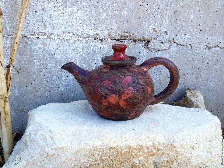 """Купить Чайник керамический """"Осенний листопад"""". Авторская керамика - керамика ручной работы, разноцветный, чайник"""