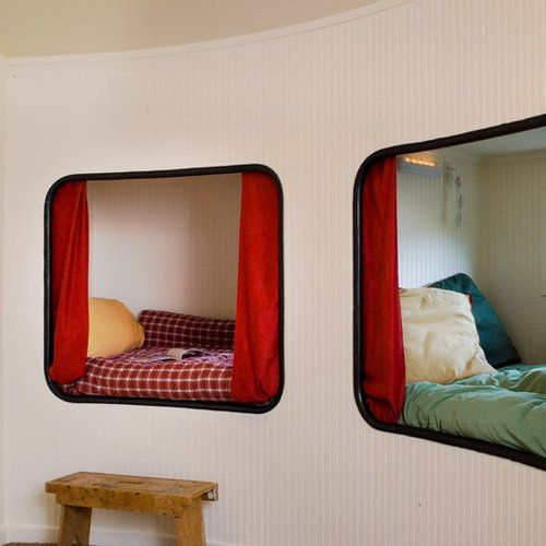 """For grandchildren, a """"Bed in a Box"""" concept was installed. Each one includes a stereo sound system and flat-screen monitor  Silo House"""