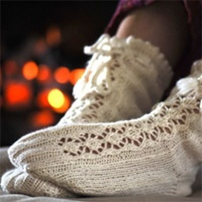 Cashmere Luxurious Lace Bed Socks (pattern sold in UK, but can be downloaded PDF)
