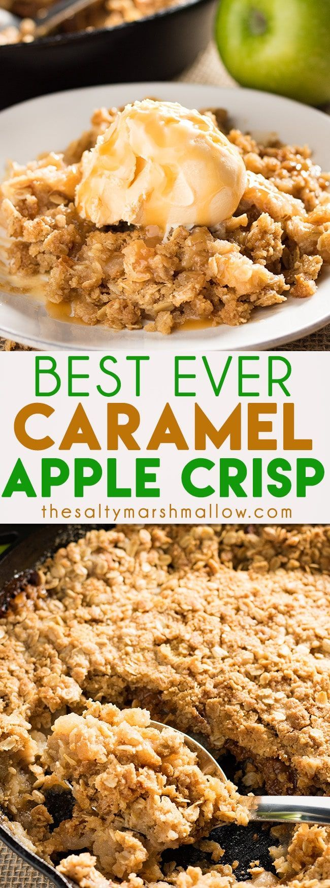 Caramel Apple Crisp - The best ever apple crisp! This easy apple crisp recipe calls for granny smith apples, apple cider, and gooey caramels! Topped with an amazing cinnamon crumble, this will be your new favorite fall dessert!