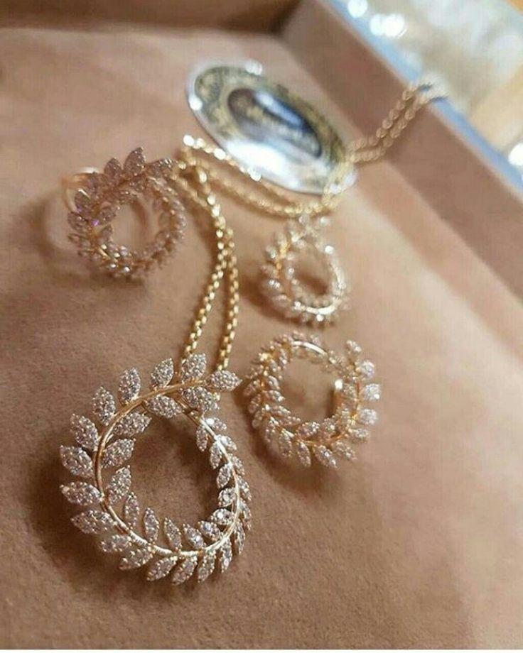 Gold Diamond set earrings pendant ring love