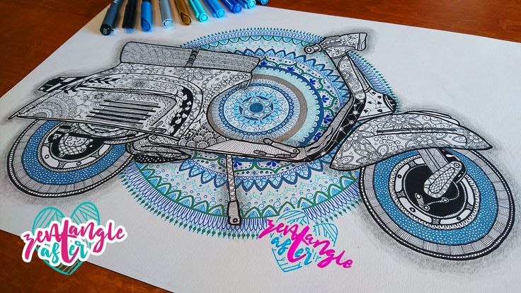 I illustrated this with a lot of fun and ZEN feelings ♡   A mandala zentangle scooter illustration, made for the scooter shop of Tanja Braber and her husband named Polderscooter.   ZenTangleAster ♡ 2018  The pens i used: Steadler Triplus Fineliner Steadler pigment liner 0.05 Edding 1200