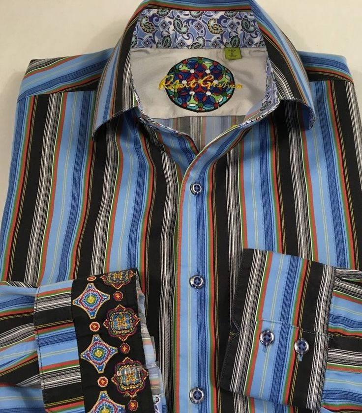 Robert Graham Men's Long Sleeve Button Down Shirt Size Large Flip Cuff Striped  #RobertGraham #ButtonFront