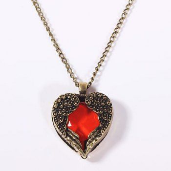 Vintage Rhinestone Decorated Heart Shaped Pendant Necklace and Long Sweater Chain for Female (Coppery) in Necklaces | DressLily.com