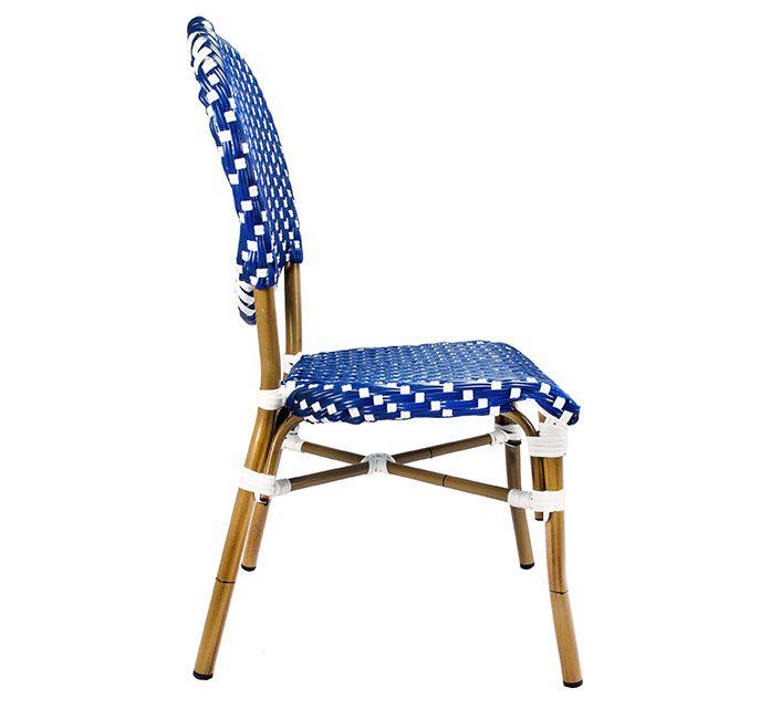 Chaise De Terrasse Parisienne Polyrotin Bleu Et Blanc 125 Salon D Ete Chaise Terrasse Terrasse Parisienne Chaise