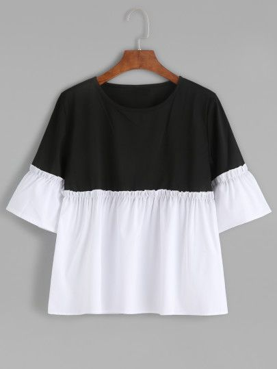 Color Block Bell Sleeve Ruffle Hem Blouse -SheIn(Sheinside) Mobile Site