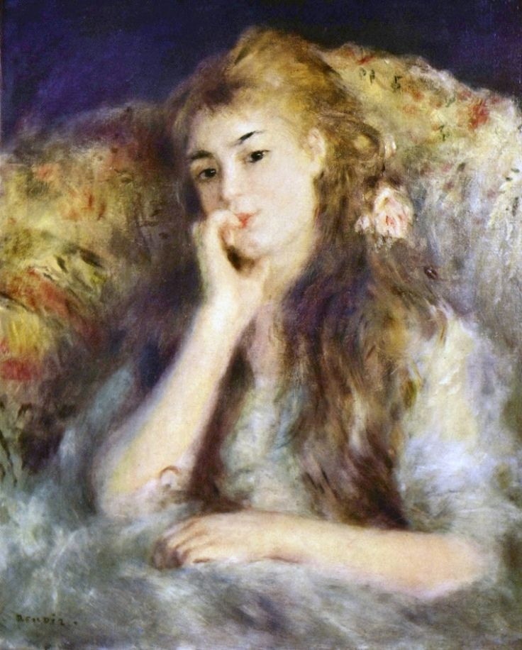 Renoir-TheThinker.Artist: Pierre-Auguste Renoir Start Date: c.1876 Completion Date:1877 Style: Impressionism Period: Association with Impressionists Genre: portrait Technique: oil Material: canvas Gallery: Private Collection