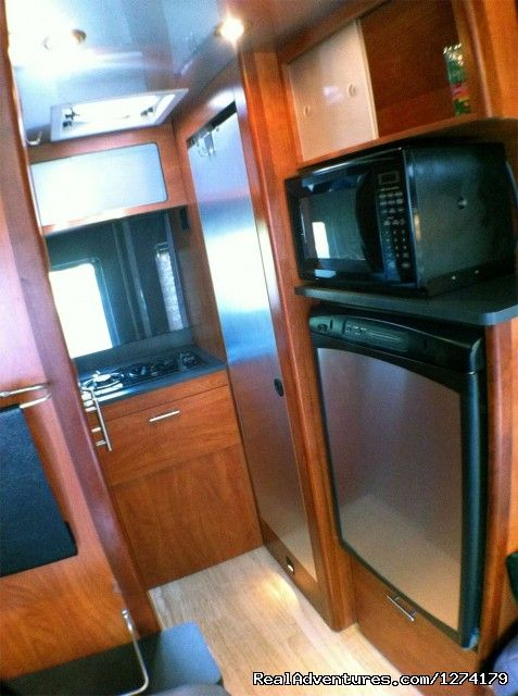 Rear Kitchen and Bath - Airstream Interstate Touring Coach Rental RV