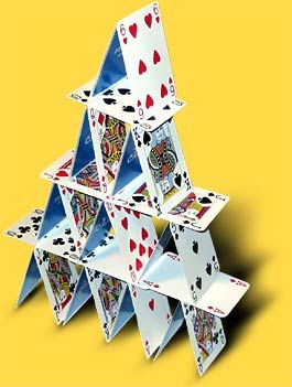 Building a house of cards .....this can be fun, even Trin can do this !